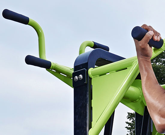 close up of pull up outdoor gym equipment